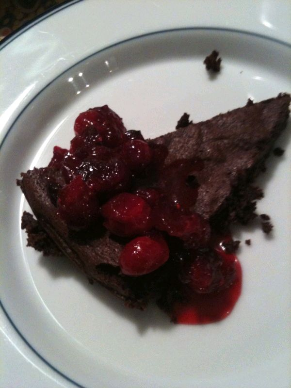 Bittersweet Chocolate Cake with Candied Cranberries
