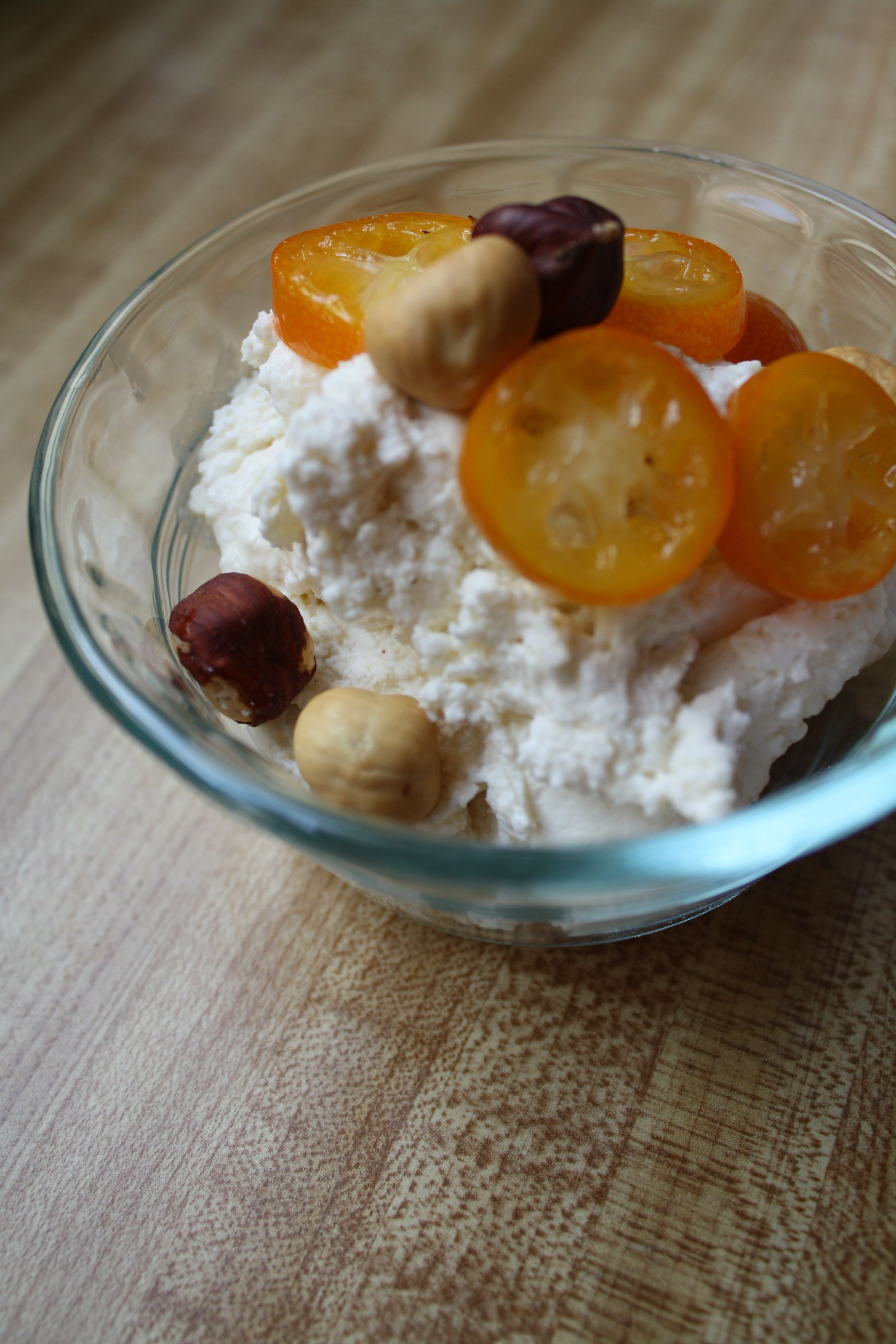 Homemade Cinnamon Ricotta with Candied Kumquats & Hazelnuts
