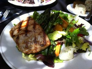 salmon salad at breadwinner's cafe, dallas
