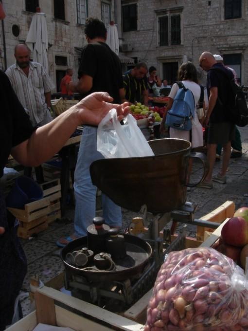 dubrovnik farmers market scales measuring system image