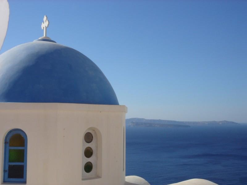 Oia santorini church and sea