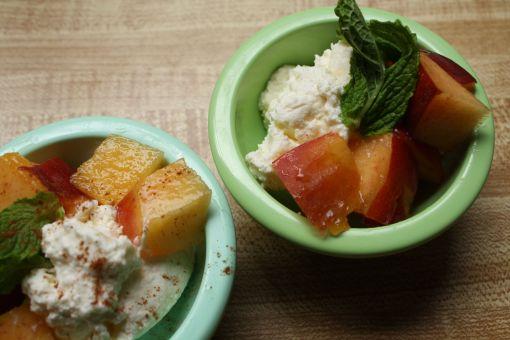 spearmint peach ricotta bowls