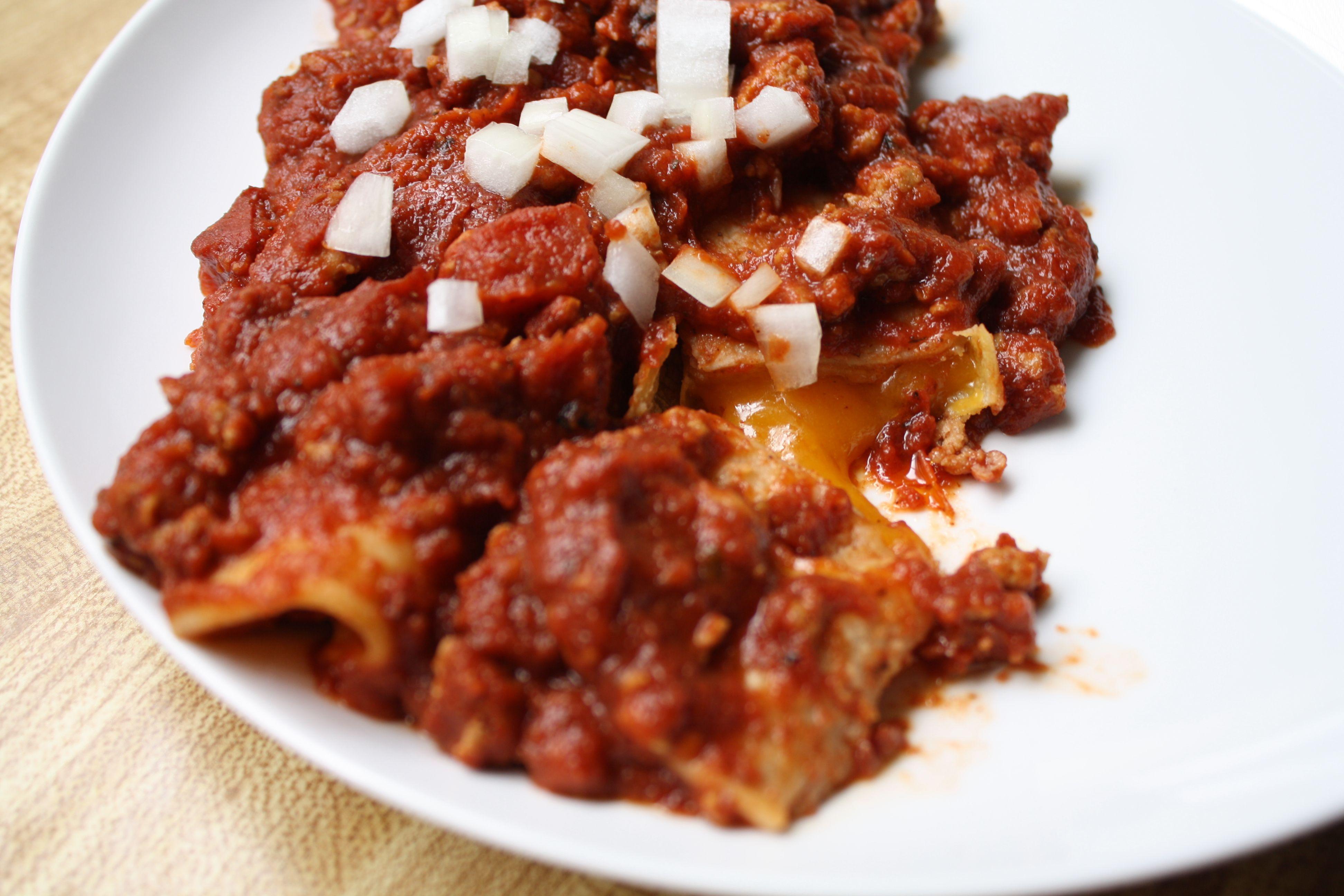 chili con carne cheese enchiladas