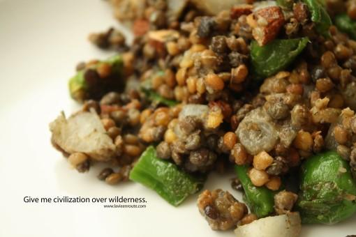 sunchoke padron lentil salad