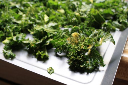 lay out kale pieces on pan and try to keep from overlapping